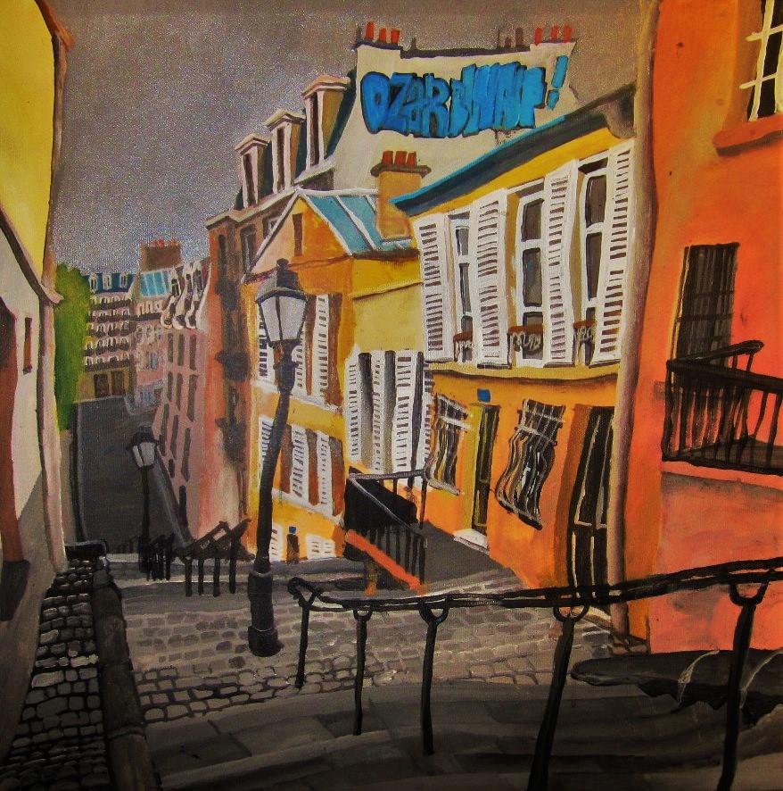 París, Montmartre. 18e arrondisement. Acrílico y óleo sobre lienzo. 50 x 50 cm. 2015.