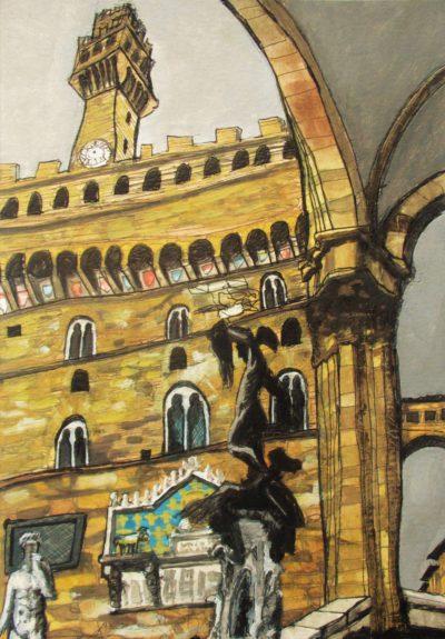 Florencia II. Piazza della Signoria. El Palazzo Vecchio desde la Loggia dei Lanzi.
