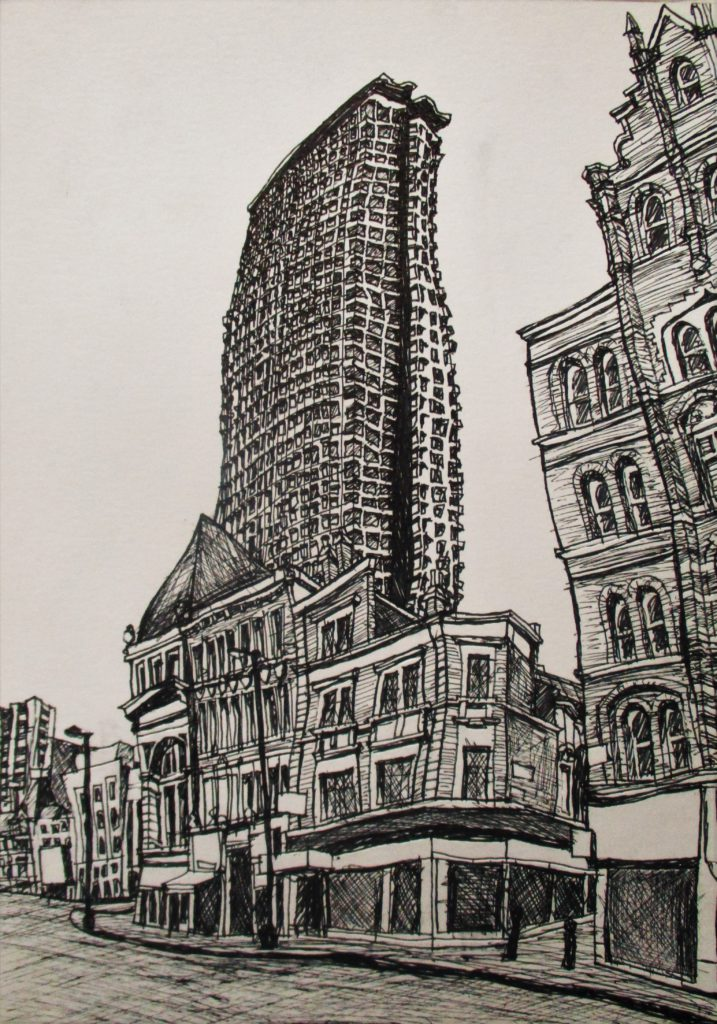 Londres II. Tottenham Court. Charing Cross Road. Edificio Centre Point. Tinta sobre papel, 30 x 21 cm. 2016.