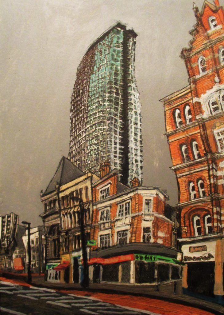 Londres II. Tottenham Court. Charing Cross Road. Edificio Centre Point. Tinta, acuarela y acrílico sobre papel, 30 x 21 cm. 2016.