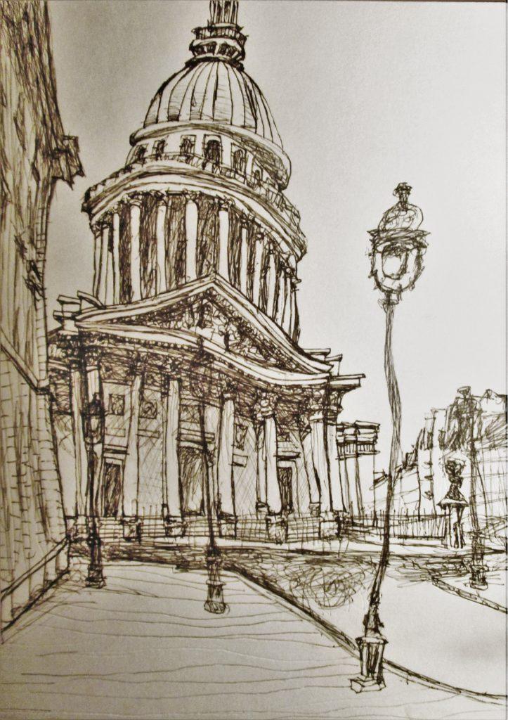 Paris. Le Panthéon. Dibujo, 2016