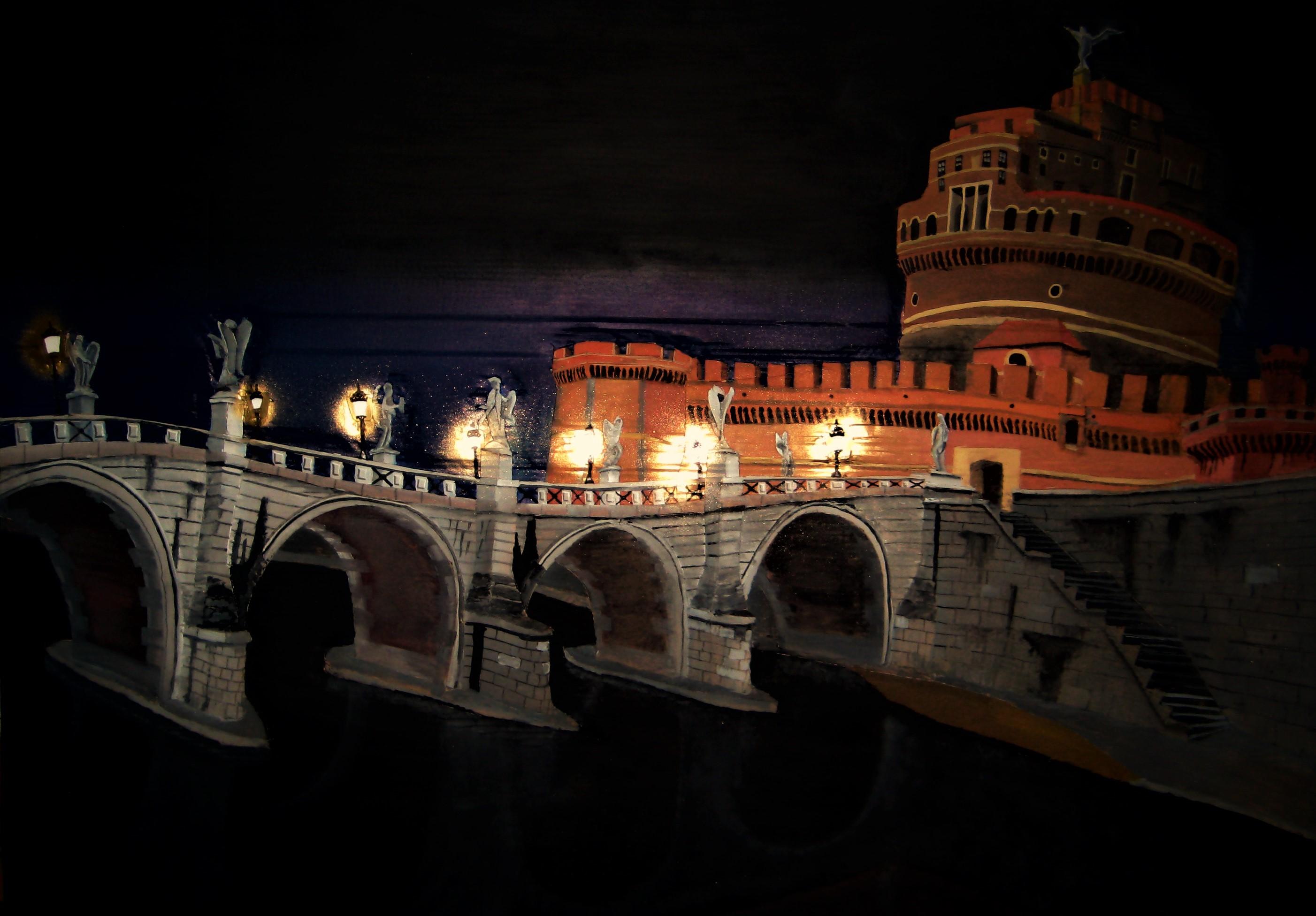 Roma. Ponte Sant'Angelo. Técnica mixta (Cartón, óleo, plástico, luces, spray y cola sobre tabla) 1 x 1'40 m. 2009