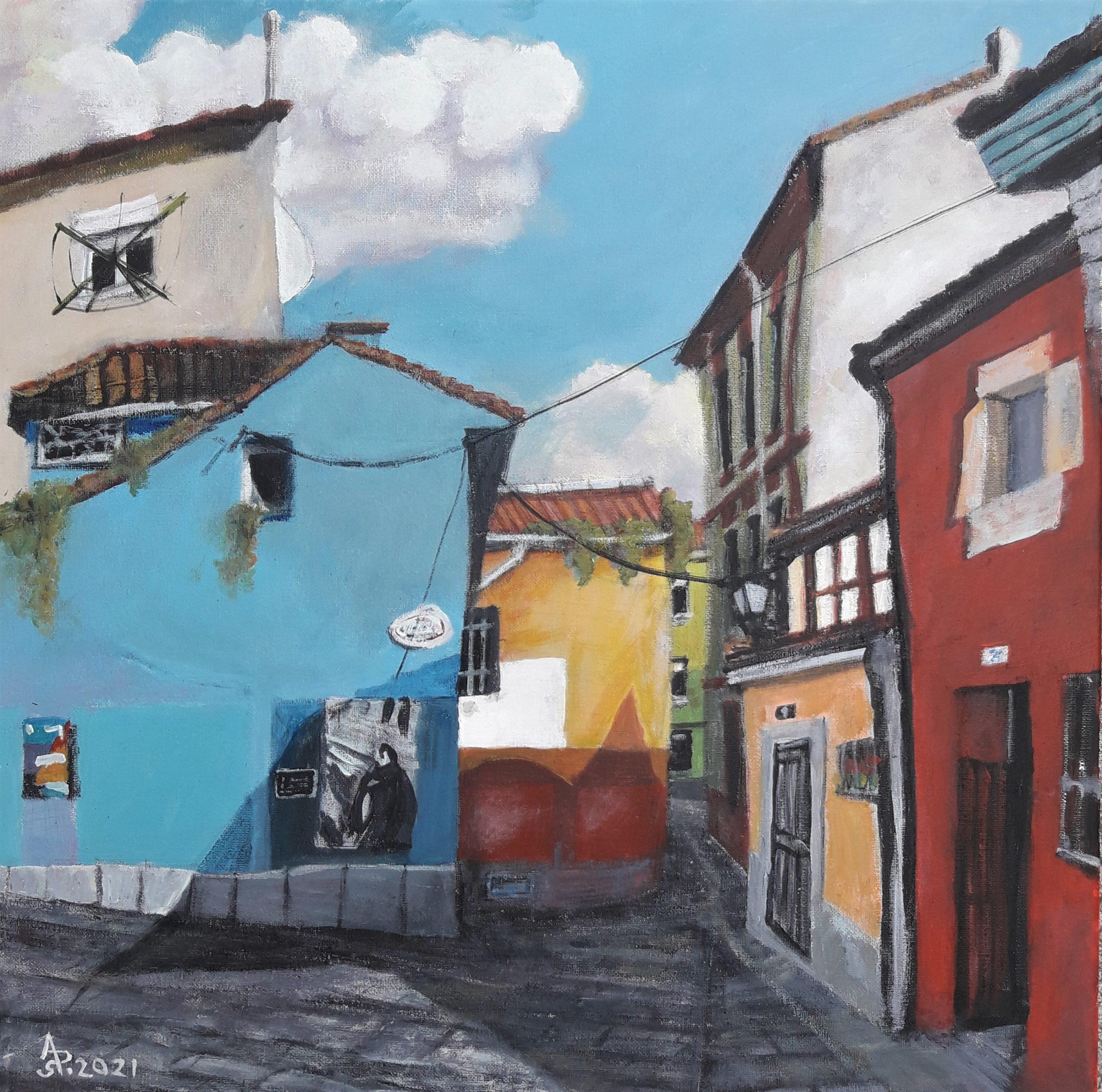 Gijón/Xixón. Calle Atocha, Cimavailla. Acrílico sobre lienzo, 50 x 50 cm. 2021.