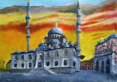Estambul. Mezquita Nueva (Yeni Camii) Fatih, Eminönü. Tinta, acrílico y acuarela sobre papel, 30 x 42 cm. 2019.