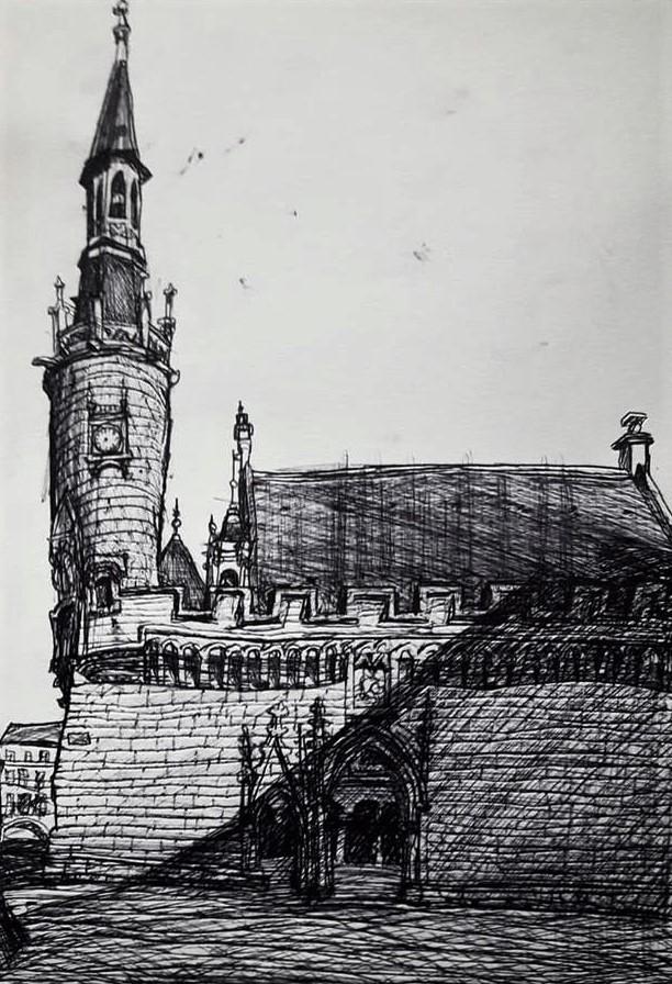 La Rochelle, Hôtel de ville. Tinta sobre papel, 2017.