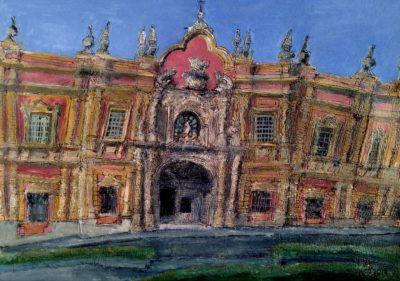 Museo de Bellas Artes de Sevilla. Tinta, acuarela y acrílico sobre papel, 30 x 42 cm. 2019.
