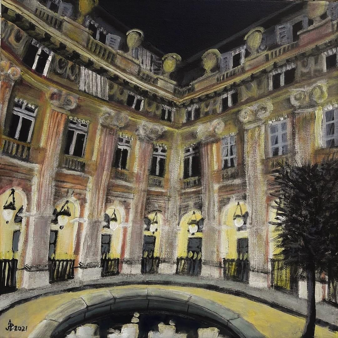 París, Jardin du Palais-Royal. Acrílico sobre lienzo, 50 x 50 cm. 2021.