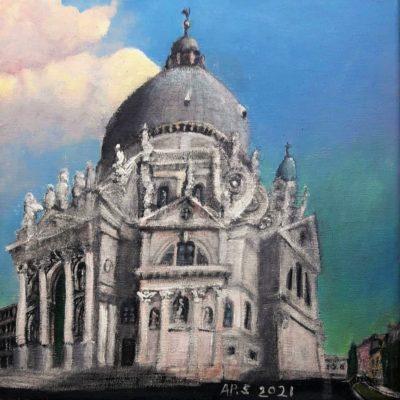 Venecia. Santa Maria della Salute. Acrílico sobre lienzo, 30 x 30 cm. 2021.